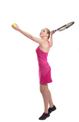 Woman with tennis racket in her hand serving the ball