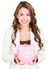 Businesswoman saving money