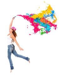 Happy female painter