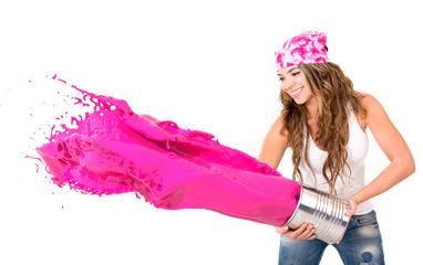Woman splashing paint