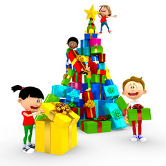 3D kids opening Christmas presents
