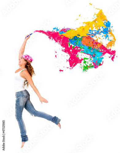 Happy female painter