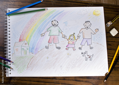 Dibujo infantil de una familia diferente