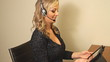 Happy smiling customer service blond woman