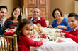 Multi Generation Family Celebrating With Christmas Meal - 47523643