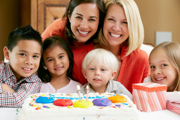 Mothers Celebrating Child's Birthday With Friends
