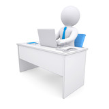 3d white human sitting at a table. Working at a laptop