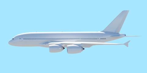 White passenger plane. A side view