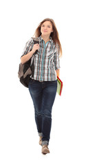 Nice female student smiling and looking at camera