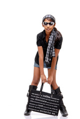 Beautiful Indian girl with bag