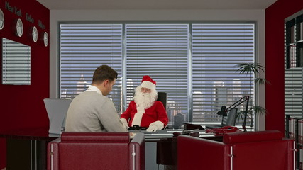 Santa Claus signing a contract with a Businessman