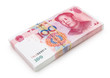 stack of brand new RMB 100 with clipping path