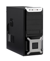 The computer case with high speed CPU isolated on white