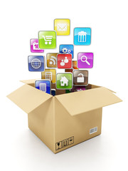 Cardboard box Box and mobile cloud icons. Create mobile OFFER fo