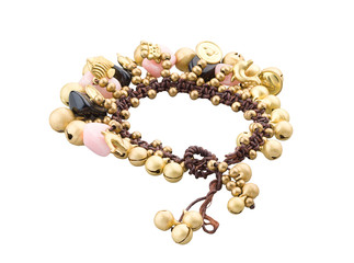 A cute brass bracelet decorated by gemstone