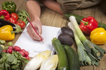 Man's hand writing list of organic vegetables