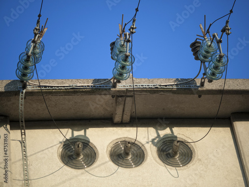 Old electrical cabin insulators and wires details