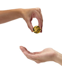 Woman holding coin panda