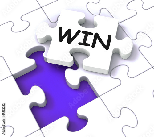 Win Puzzle Shows Success Winner Succeeding