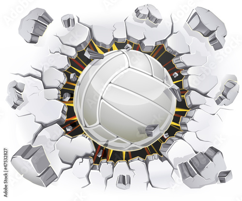 Volleyball and Old Plaster wall damage. Vector illustration