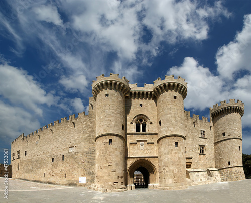 Rhodes Medieval Knights Castle (Palace), panoramic view, Greece