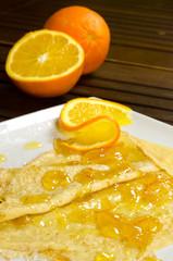 Crepe Suzette, pancake with orange marmalade