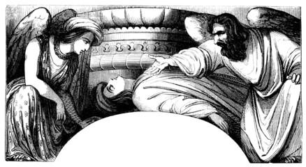 Angels protecting the sleeping Man