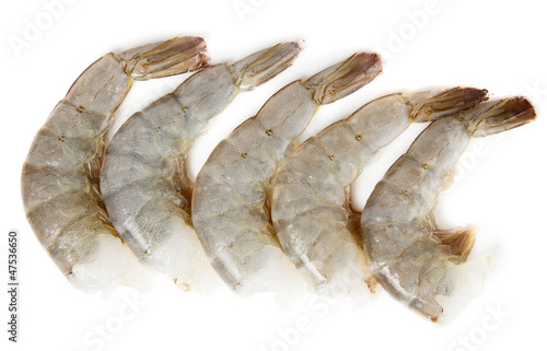 Raw prawns isolated on white