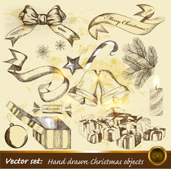 Collection of hand drawn Christmas objects