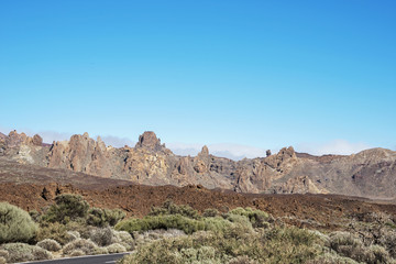 the road to the Vulcano De Teide