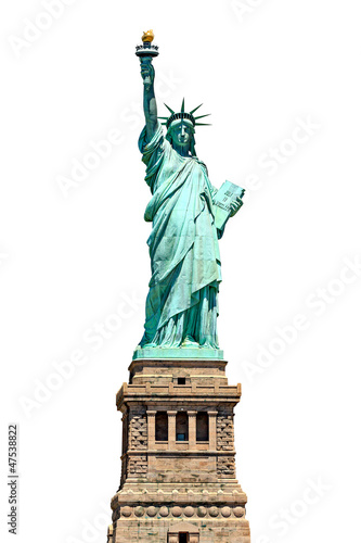 Foto op Canvas Standbeeld Statue of Liberty - isolated on white