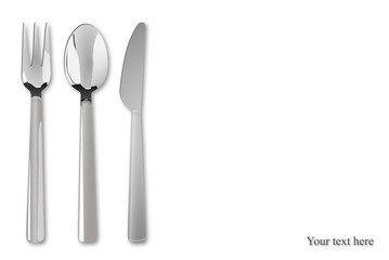 White background with cutlery