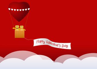 Mongolfiera di cuore San Valentino vector