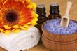 Natural body care/ SPA concept: lavender sea salt and aroma oil