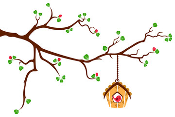 Tree branch with hut style bird house