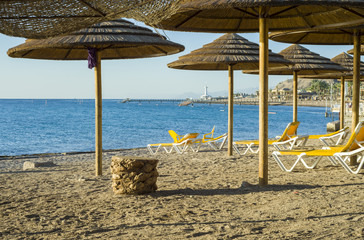 Sandy beach near coral reef in Eilat, Israel