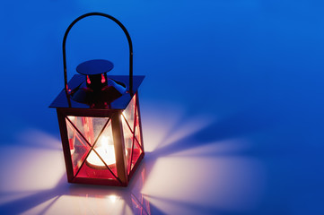Decorative red metal lantern