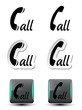 contact, call buttons - phone symbols - EPS 10