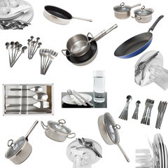 Collage of glasses, plates, dishware, utensil.