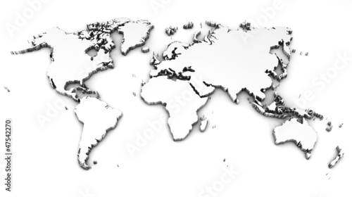 Aluminium Wereldkaart detailed world map