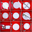 Collage of forks,knifes,spoons on red background.