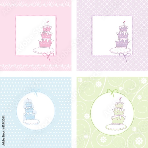 set of festive postals with cakes