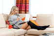 attractive woman with laptop in home