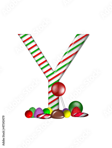 Alphabet Candy Cane Sweets Y