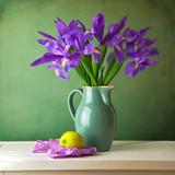 Beautiful still life with iris flower over grunge background