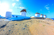 WIndmills panoramic view Mykonos Island Greece Cyclades