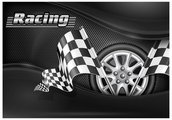Checkered flags and wheel & text