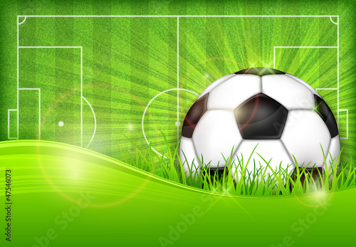 obraz lub plakat Ball on green field background