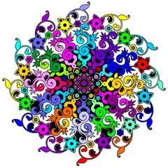Mandala Floral Psychedelic-Mandala Floreale Psichedelico-Vector