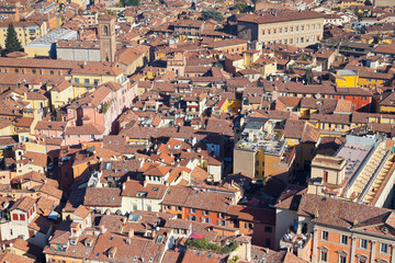 view from Asinelli Tower on Bologna downtown